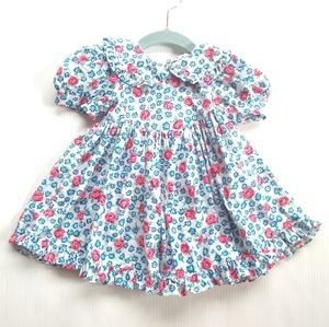 Vintage blue & red floral ruffle gathered dress